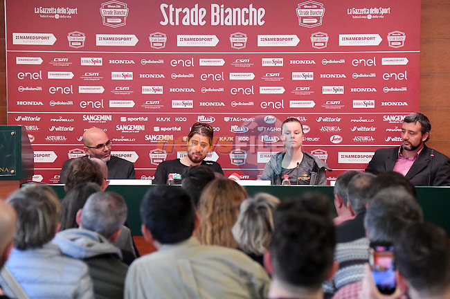 World Champions Peter Sagan (SVK) Bora-Hansgrohe and Amalie Dideriksen (DEN) Boels-Dolmans press conference held in Palazzo Sansedoni, Siena, Tuscany, Italy 3rd March 2017.<br /> Picture: LaPresse/Gian Mattia D'Alberto | Newsfile<br /> <br /> <br /> All photos usage must carry mandatory copyright credit (&copy; Newsfile | LaPresse/Gian Mattia D'Alberto)