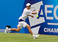 Kai Nishikori (JPN) against Richard Gasquet (FRA) (11) in the first round of the men's singles. Richard Gasquet beat Kai Nishikori 6-3 6-3..Tennis - ATP World Tour - AEGON Championships - Queen's Club - London - Day 1 - Mon 07 Jun 2010..© AMN Images - Level 1, Barry House, 20-22 Worple Road, London, SW19 4DH.Tel - +44 (0) 208 947 0100.email - mfrey@advantagemedianet.com. www.photoshelter.com/c/amnimages.