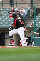 First baseman Kennys Vargas (35) of the Rochester Red Wings bats against the Scranton Wilkes-Barre Railriders on May 1, 2016 at Frontier Field in Rochester, New York. Red Wings won 1-0.  (Christopher Cecere/Four Seam Images)