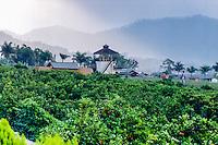 Java, East Java, Batu. Kusuma AgroWisata hotel in Batu. The climate here allows growing of oranges and apples.