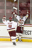 Melissa Bizzari (BC - 4) and Kelli Stack (BC - 16) celebrated Stack's third goal. - The Boston College Eagles defeated the visiting Harvard University Crimson 6-2 on Sunday, December 5, 2010, at Conte Forum in Chestnut Hill, Massachusetts.