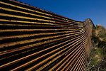 The US-Mexico border fence in Tecate, Mexico on Wednesday, April 12, 2006.<br />