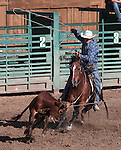 The Young Guns team competes in the team roping event at the Minden Ranch Rodeo on Saturday, July 21, 2012..Photo by Cathleen Allison