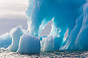 Norway, Svalbard, detail of blue iceberg