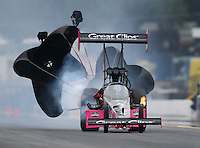 Oct 1, 2016; Mohnton, PA, USA; NHRA top fuel driver Clay Millican during qualifying for the Dodge Nationals at Maple Grove Raceway. Mandatory Credit: Mark J. Rebilas-USA TODAY Sports