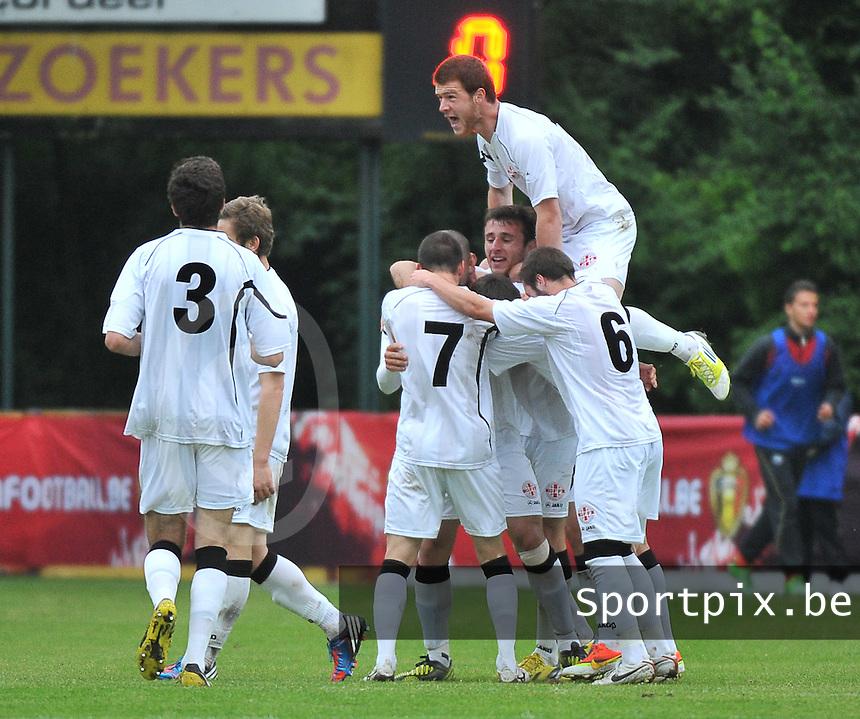 Georgia U19 - Belgium U19 : Georgian team celebrates their goal<br /> foto DAVID CATRY / Nikonpro.be