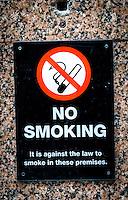 No Smoking Sign Outside Pub - May 2014.