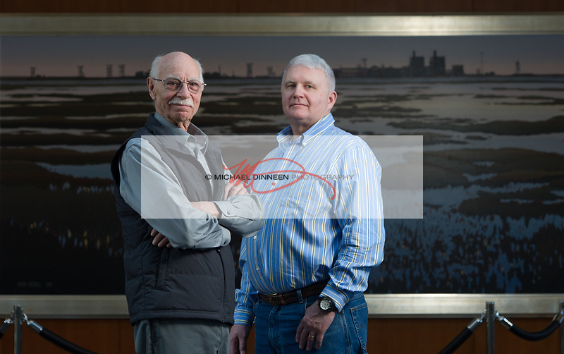 From left, retired BP drill superintendent Ted Stagg and current BP drill superintendent Greg Sarber.