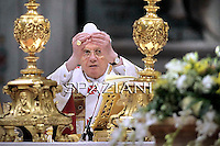 Pope Benedict XVI celebrates the holy mass and rite of Episcopal ordination in St. Peter's basilica at the Vatican on February 5, 2011.