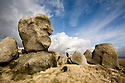 The Wool Packs, an area of weathered gritstone boulders, Peak District NP, UK. February 2009.