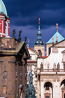 Looking from the Charles Bridge to Stare Mesto, Prague, Czech Republic