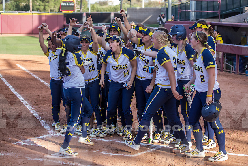 The University of Michigan softball team defeats Arizona State University, 6-2, in the ASU Louisville Slugger Invitational in Tempe, Ariz., on March 1, 2015.