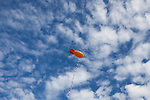 A balloon floats above Republican presidential hopeful Michele Bachmann's tent at the Iowa Republican Straw Poll on Saturday, August 13, 2011 in Ames, IA.
