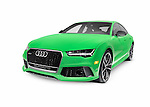 Green 2016 Audi RS 7 Prestige Quattro Sedan luxury car isolated on white background with clipping path