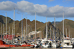 Yachts and boats in the Santa Cruz harbour, with the Mercedes mountains in the background. Tenerife, Canary Islands.