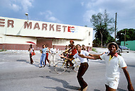 Miami, Florida, U.S.A, September, 1980. America severely marked by the recession. Street scene of Liberty City ghetto.