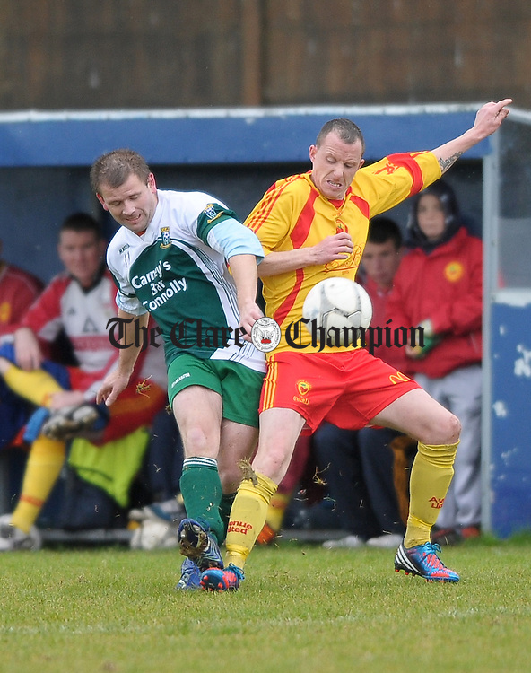 Brendan Dillon of Connolly Celtic in action against XXX of Avenue United during their Premier League Cup Final at The County Grounds,  Doora. Photograph by John Kelly.