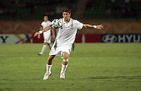 Italy's Andrea Mazzarani (8) pushes the ball toward Hungary's goal during the FIFA Under 20 World Cup Quarter-final match at the Mubarak Stadium  in Suez, Egypt, on October 09, 2009. Hungary won 2-3 in overtime.
