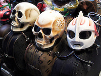 Motorcycle helmets. In a shop in Kuta, Bali, Indonesia.<br />
