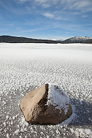 """Frozen Prosser Reservoir 2"" - This frost covered rock was photographed at a frozen over Prosser Reservoir near Truckee, California."