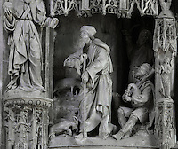 An angel appears to Joachim while he watches his sheep, and tells him he will have a baby who will be the holy Virgin. The annunciation to St Joachim, by Jean Soulas, upper scene from the choir screen, 1519-25, Chartres Cathedral, Eure-et-Loir, France. These sculpted scenes show the change in style from Gothic to Renaissance in the early 16th century in France. Chartres cathedral was built 1194-1250 and is a fine example of Gothic architecture. It was declared a UNESCO World Heritage Site in 1979. Picture by Manuel Cohen.