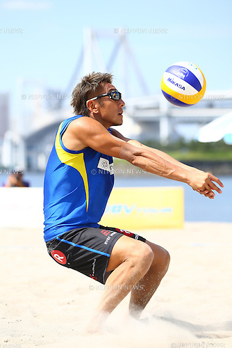 Koichi Nishimura,<br /> SEPTEMBER 21, 2015 - Beach Volleyball : <br /> JBV Tour 2015 Tokyo Open<br /> Men's Semi-Final<br /> at Odaiba Beach, Tokyo, Japan.<br /> (Photo by Shingo Ito/AFLO SPORT)