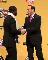 Kofi Sarkodie with commissioner Don Garber at the 2011 MLS Superdraft, in Baltimore, Maryland on January 13, 2010.