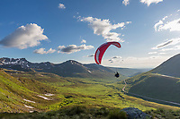 Paraglider takes flight in Hatcher Pass, southcentral, Alaska.