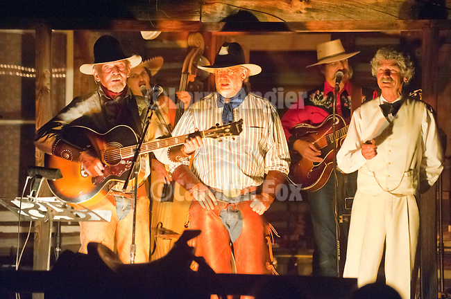 Ron Scofield & Gary Lowe with McAvoy Layne (ghost of Mark Twain) perform at the Scofield Cowboy Campfire, Red Mule Ranch