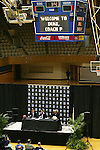 20 April 2007: The scoreboard in Cameron Indoor Stadium welcomes the new Duke University Women's head coach. Duke University held a press conference to introduce new Women's Basketball head coach Joanne P. McCallie in Cameron Indoor Stadium in Durham, North Carolina.