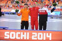 OLYMPICS: SOCHI: Adler Arena, 15-02-2014, Men's 1500m, Koen Verweij (NED), Zbigniew Brodka (POL), Denny Morrison (CAN), ©photo Martin de Jong