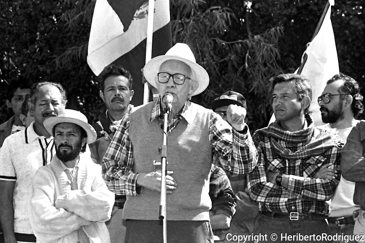 Archive photo of Andres Manuel Lopez Obrador listening to Heberto Castillo during a demonstration at San Benjamin Contla in Tlaxcala State, December 31, 1991. Lopez Obrador started a rally named Exodus for Democracy against an electoral fraud from his natal state of Tabasco to Mexico City.  © Photo by Heriberto Rodriguez