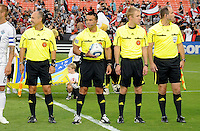 MLS main referee Hilario Grajeda, with assistant George Gansner and Paul Scott and 4th official Mark Declouet. D.C. United defeated The Vancouver Whitecaps FC 4-0 at RFK Stadium, Saturday August 13 , 2011.