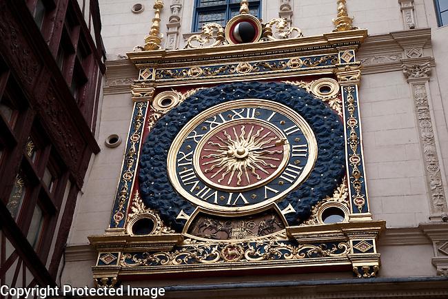 Gros Horloge Medieval Clock in Rouen, Normandy, France