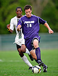 11 September 2009: University of Portland Pilots' midfielder/defenseman Greg Rouse, a Senior from Denver, CO, in action against the University of Vermont Catamounts in the first round of the 2009 Morgan Stanley Smith Barney Soccer Classic held at Centennial Field in Burlington, Vermont. The Catamounts and Pilots battled to a 1-1 double-overtime tie. Mandatory Photo Credit: Ed Wolfstein Photo