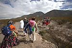 Pilgrimage of Native Wixaricas to their sacred place of Wirikuta, February 6, 2012. The scene is at Mastranto prior to climbing to the Cerro Quemado in San Luis Potosi state. Photo by Heriberto Rodriguez