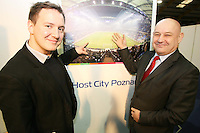 27/1/2012   Damian Zalewski  ( Team for promotion EURO 2012 ) with Marcin Nawrot Ambassador of the Republic of Poland to Ireland at  Holiday World Show Dublin.Pic Collins Photos