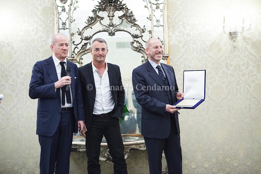 Giuseppe Russo, editor Neri Pozza, Eshkol Nevo, israeli writer, Roberto Plevano Premio Nazionale Neri Pozza 2015. Milano, 6 ottobre 2015. © Leonardo Cendamo