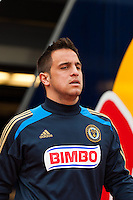 Daniel Cruz (44) of the Philadelphia Union. The New York Red Bulls defeated the Philadelphia Union 2-1 during a Major League Soccer (MLS) match at Red Bull Arena in Harrison, NJ, on March 30, 2013.