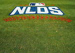 7 October 2016: The NLDS Logo is painted on the grass sidelines, ready for the first game of the NLDS between the Washington Nationals and the Los Angeles Dodgers at Nationals Park in Washington, DC. The Dodgers edged out the Nationals 4-3 to take the opening game of their best-of-five series. Mandatory Credit: Ed Wolfstein Photo *** RAW (NEF) Image File Available ***