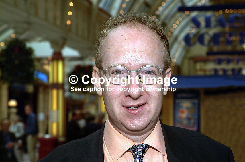 Daniel Finkelstein, journalist, The Times, London. Taken at Conservative Conference in Blackpool. Ref: 200110104297...Copyright Image from Victor Patterson, 54 Dorchester Park, Belfast, UK, BT9 6RJ..Tel: +44 28 9066 1296.Mob: +44 7802 353836.Voicemail +44 20 8816 7153.Skype: victorpattersonbelfast.Email: victorpatterson@mac.com.Email: victorpatterson@ireland.com (back-up)..IMPORTANT: If you wish to use this image or any other of my images please go to www.victorpatterson.com and click on the Terms & Conditions. Then contact me by email or phone with the reference number(s) of the image(s) concerned.