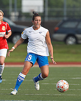 Boston Breakers forward Amanda DaCosta (5) settles the ball. In a Women's Premier Soccer League Elite (WPSL) match, the Boston Breakers defeated Western New York Flash, 3-2, at Dilboy Stadium on May 26, 2012.