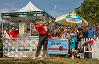 FARMINGDALE, NY - AUGUST 26:  Tiger Woods plays a shot from the rough at the first hole during the final round of the 2012 Barclays at the Black Course at Bethpage State Park in Farmingale, New York on August 26, 2012. (Photograph ©2012 Darren Carroll) *** Local Caption *** Tiger Woods