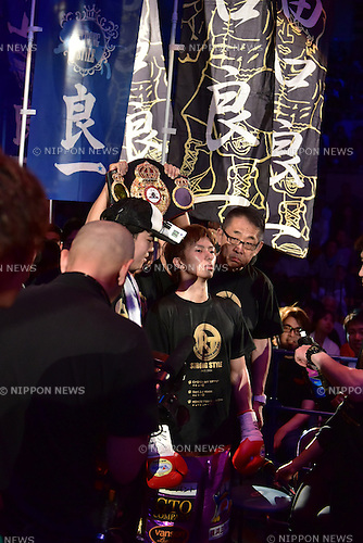 (R-L)  Hitoshi Watanabe, Ryoichi Taguchi (JPN),  Yuta Ishihara,<br /> MAY 6, 2015 - Boxing :<br /> Ryoichi Taguchi of Japan enters the ring before the WBA light flyweight title bout at Ota-City General Gymnasium in Tokyo, Japan. (Photo by Hiroaki Yamaguchi/AFLO)