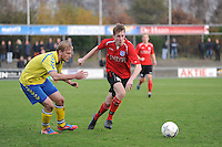 VOETBAL: HEERENVEEN: 23-11-2014, Sportpark Skoatterwâld, VV Heerenveen - SC Emmeloord, uitslag 2 - 1, Jordi Kouwenhoven (#10) rechts, ©foto Martin de Jong