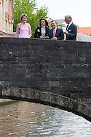 Queen Rania & King Abdullah II Of Jordan during royal guided tour in Bruges - Belgium