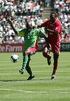 Eddie Viator (5) battles for controls against Luis Tejada (18). Guadeloupe defeated Panama 2-1 during the First Round of the 2009 CONCACAF Gold Cup at Oakland Coliseum in Oakland, California on July 4, 2009.