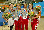 women canadian team, freestyle relay,4x100m they won the silver.<br /> Stephanie Dixon(left), Danielle Campo, Anne Polinario, Andrea Cole.<br /> (Benoit Pelosse photographe)