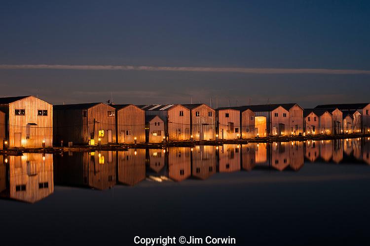 Boat Houses Along Everett Marina