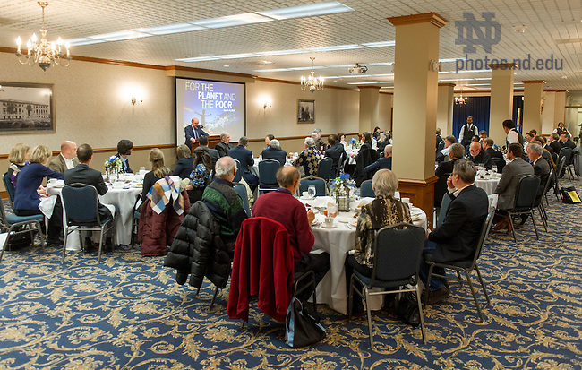 April 5, 2016; Paola Carozza, Professor of Law; Director of the Helen Kellogg Institute for International Studies, Keough School, delivers his address at the Human Dignity and the Practice of Human Development luncheon at McKenna Dining Hall.  (Photo by Barbara Johnston/University of Notre Dame)